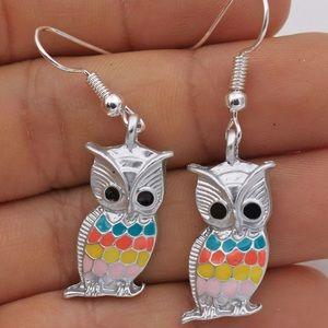 Night Owl Oil Painted Club Lady Hook Earrings